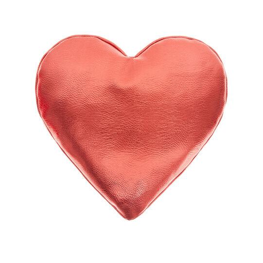Metallic-effect heart-shaped cushion