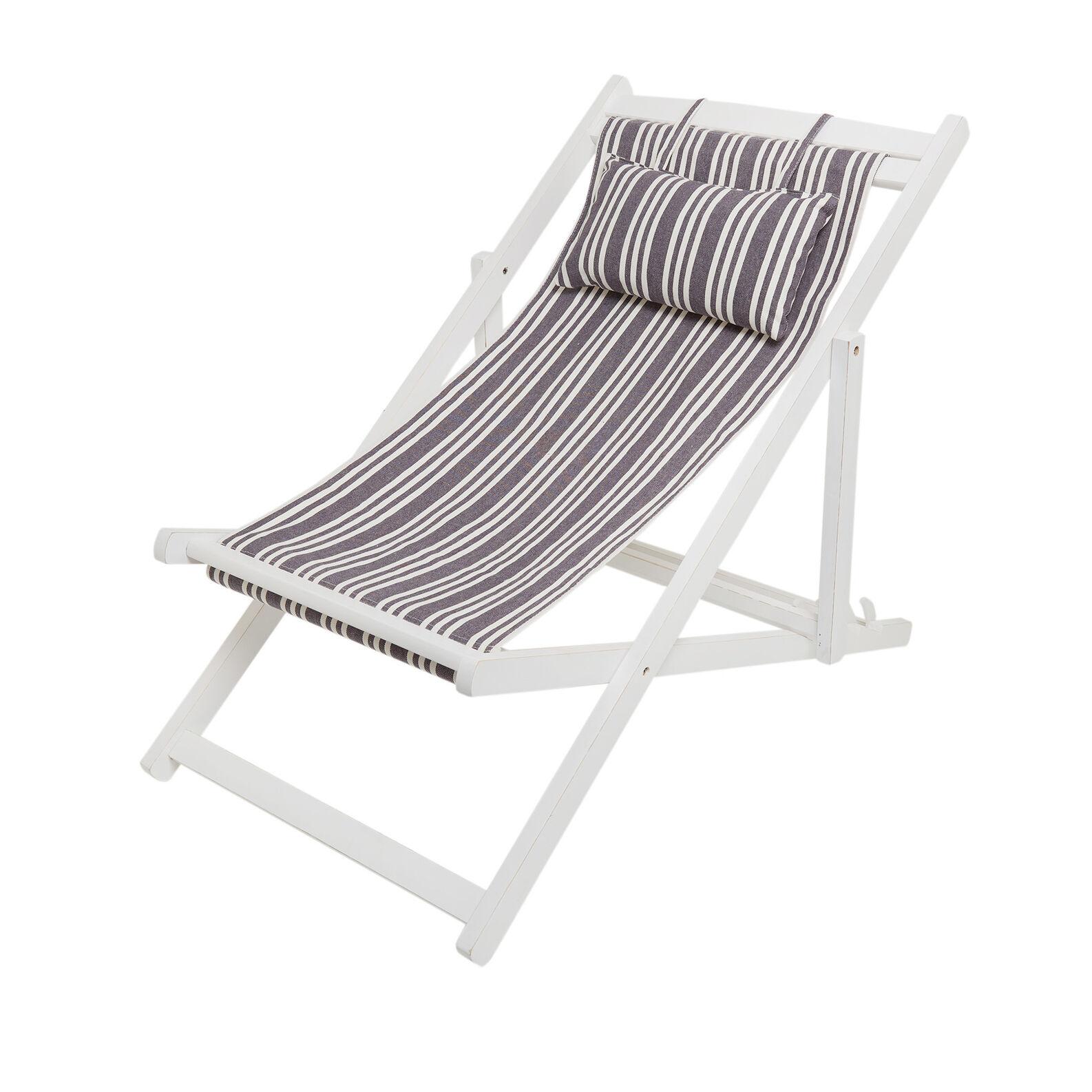 Sdraio in cotone e legno Beach