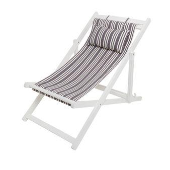 Beach deckchair in cotton and wood