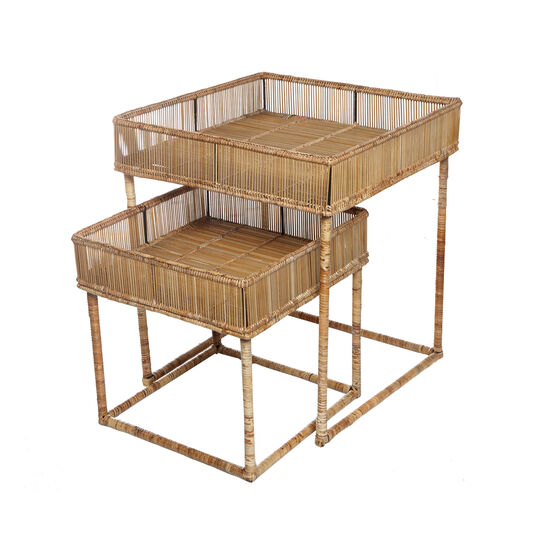 Ngapali set of 2 coffee tables in hand-woven rattan