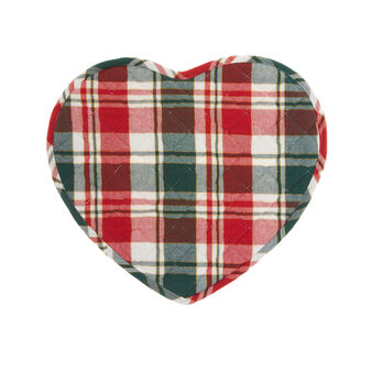 Heart-shaped quilted tartan table mat in cotton twill