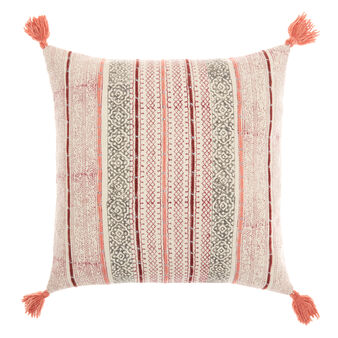 Cushion with hand-printed geometric motif