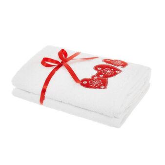 Set 2 asciugamani ricamo cuori