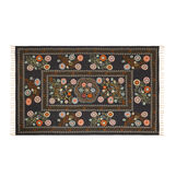 Hand-printed cotton rug with geometric motif
