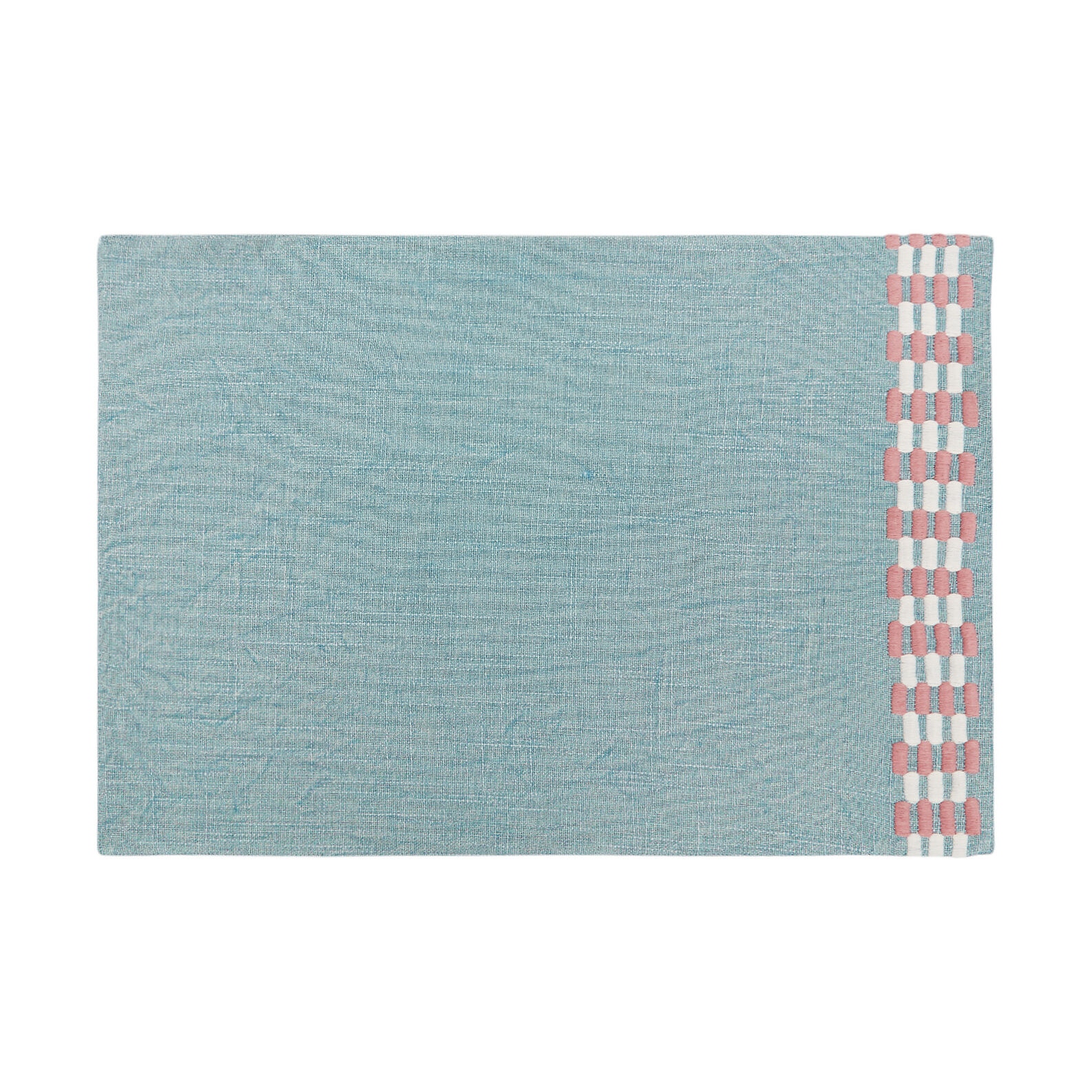 Stonewashed table mat in 100% cotton