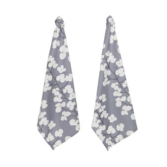 Set of 2 tea cloths in cotton with flower print