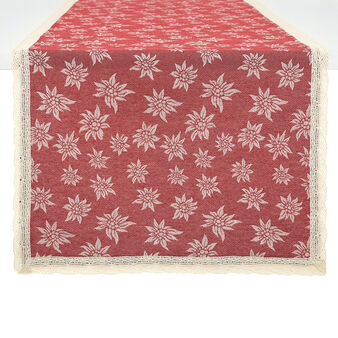 100% cotton table runner with edelweiss and lace border