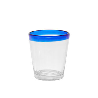 Glass tumbler with blue rim