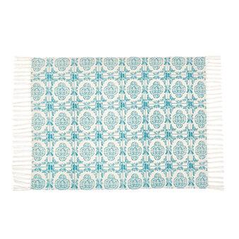 Majolica patterned cotton bath mat