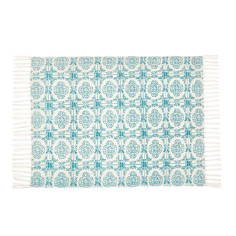 Majolica patterned cotton bath mat