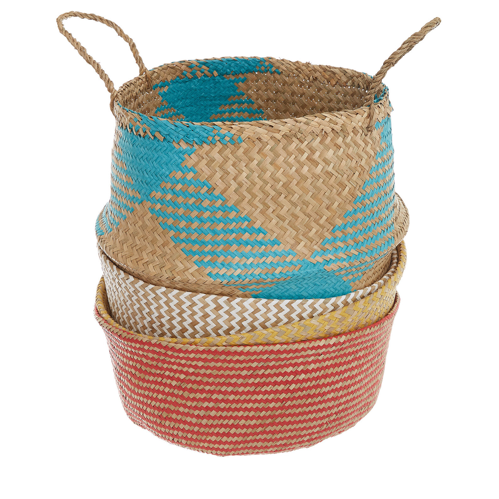 Hand-woven seagrass and paper basket