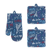 Set of 2 pot holders and oven mitt in 100% cotton with Paris print