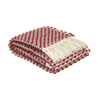 Two-tone knitted throw with fringe