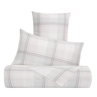 Bed linen set in cotton percale with check pattern
