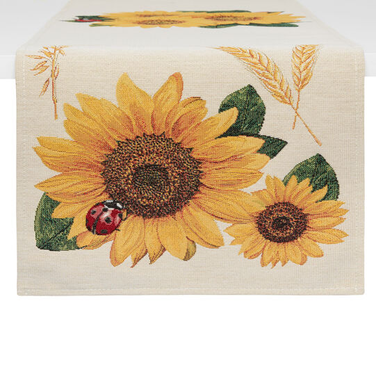 Gobelin jacquard table runner with sunflower motif