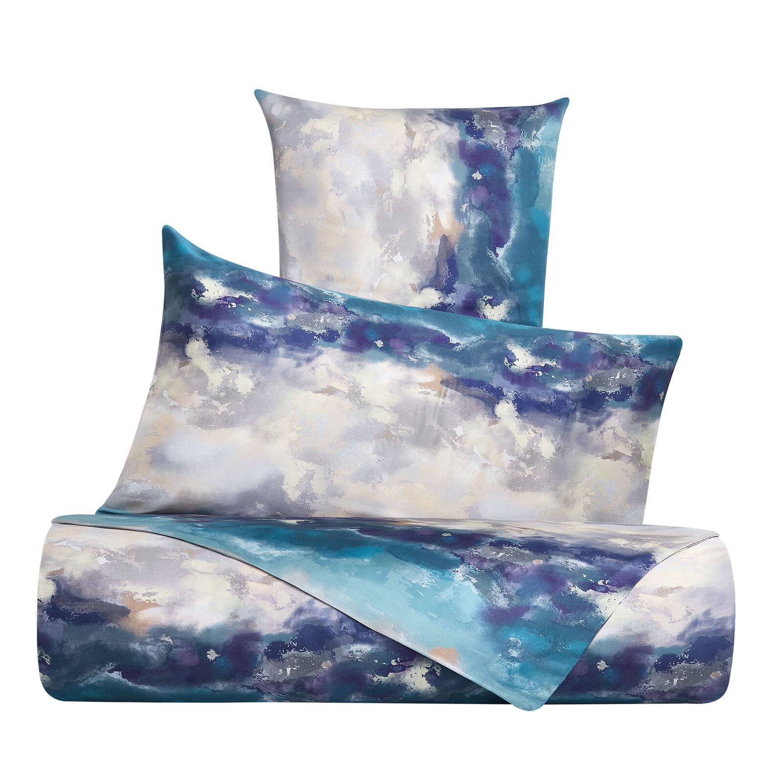 Cotton satin bed sheet set with watercolour pattern