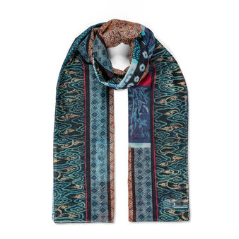 Koan silk blend sarong with India print