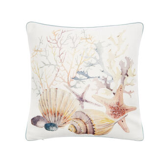 Recycled fabric cushion with shells print 50x50cm