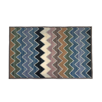 Zig zag striped cotton blend rug