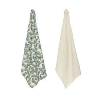 2-pack tea towels in 100% cotton with leaf print