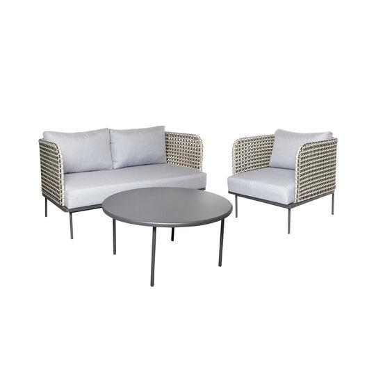 Polinesia woven polyrattan and aluminium sofa