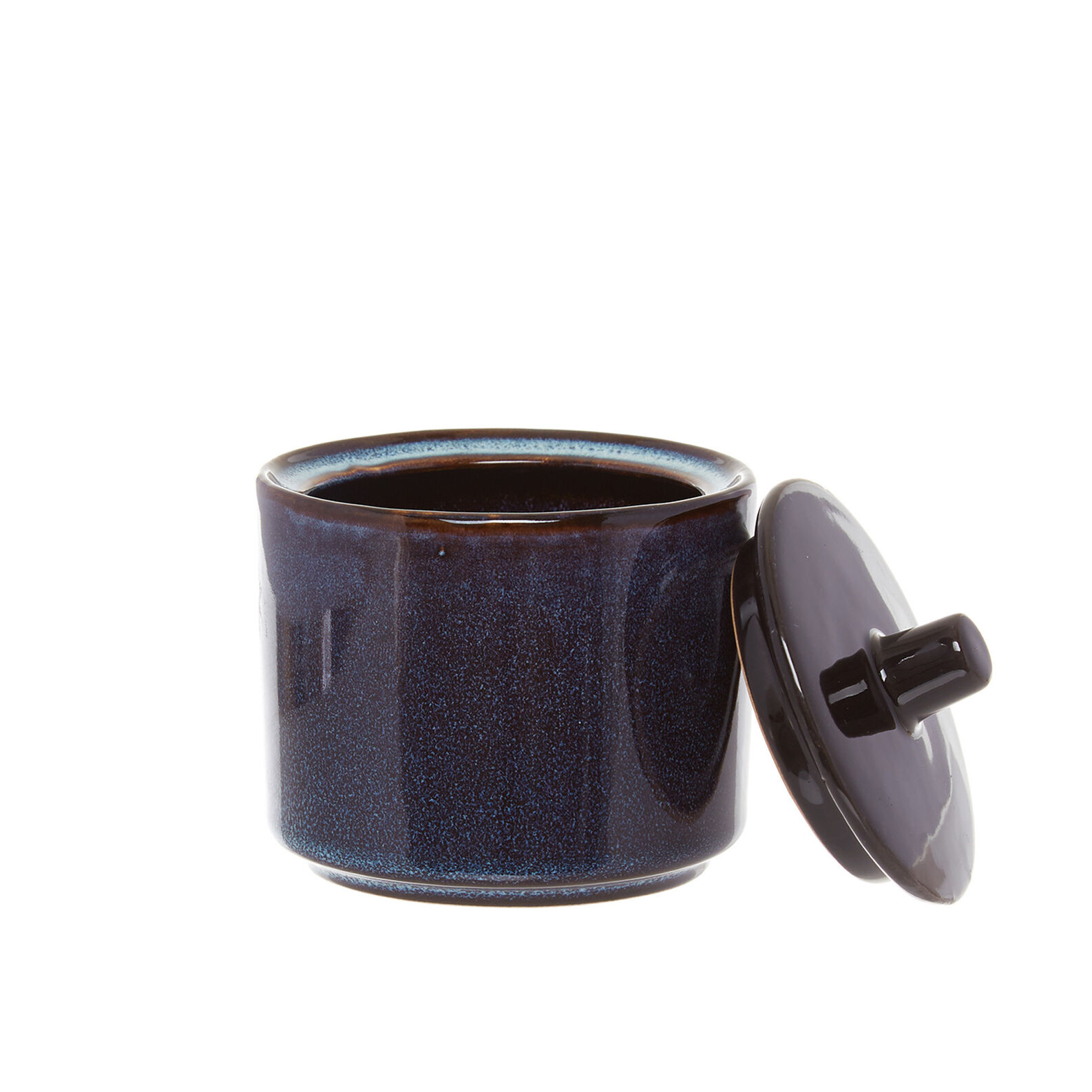 Space sugar bowl in stoneware with reactive glazes