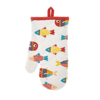 Oven mitt in 100% cotton with fish print