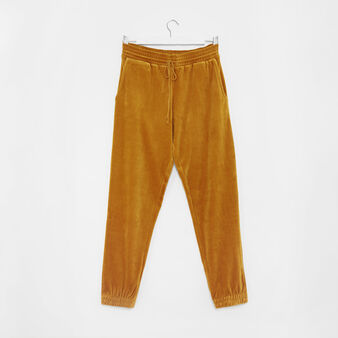 Solid colour velvet trousers
