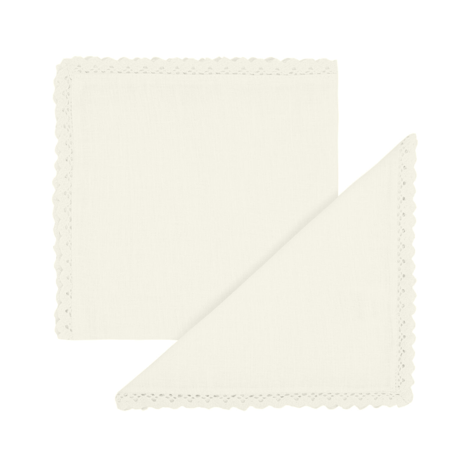 2-pack napkins in 100% linen with lace edging