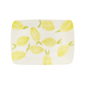 Ceramic serving plate with lemons motif