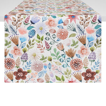 Cotton twill table runner with flowers print