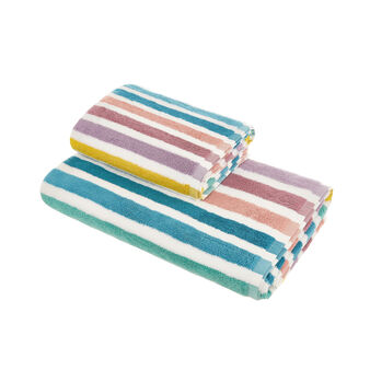 Multicoloured striped towel in 100% cotton