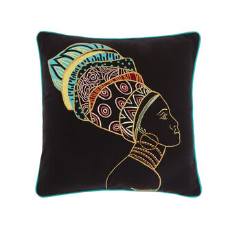 Cotton cushion with African woman embroidery 45 x 45 cm