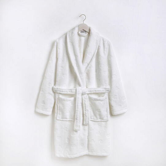 Fleece dressing gown with hearts motif