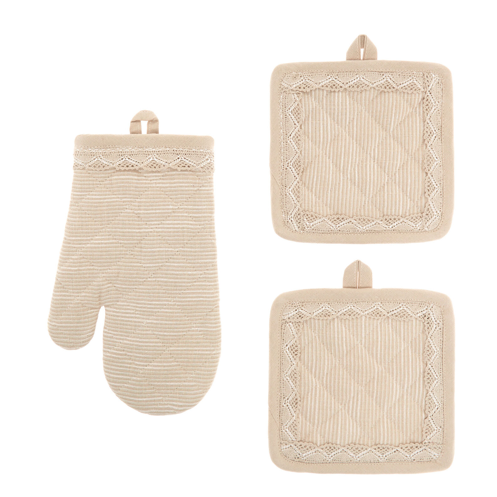 Set of 2 pot holders and oven mitt in iridescent cotton with lace edging