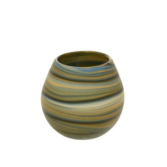 Handmade coloured glass pot