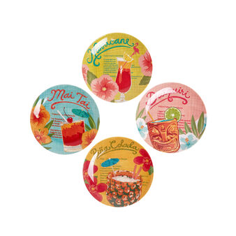 Tropical cocktail side plates in melamine