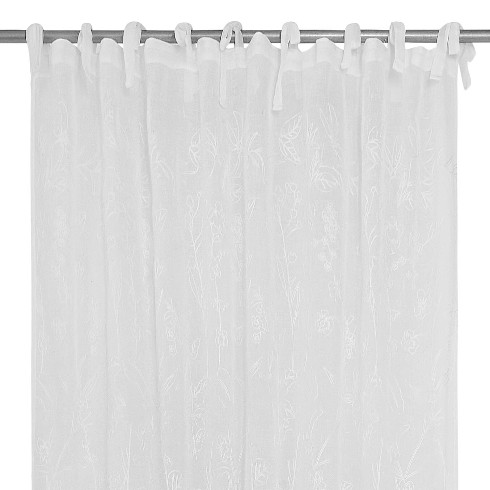 Curtain with floral motif embroidery and ties