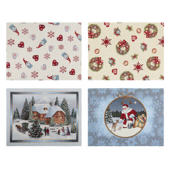 Gobelin table mats with Christmas decorations motif