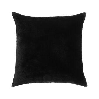 Solid colour fur-effect cushion