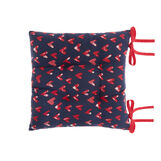 Seat pad in 100% cotton with hearts print