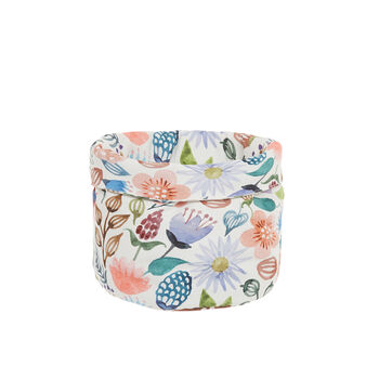 Basket in cotton twill with flowers print