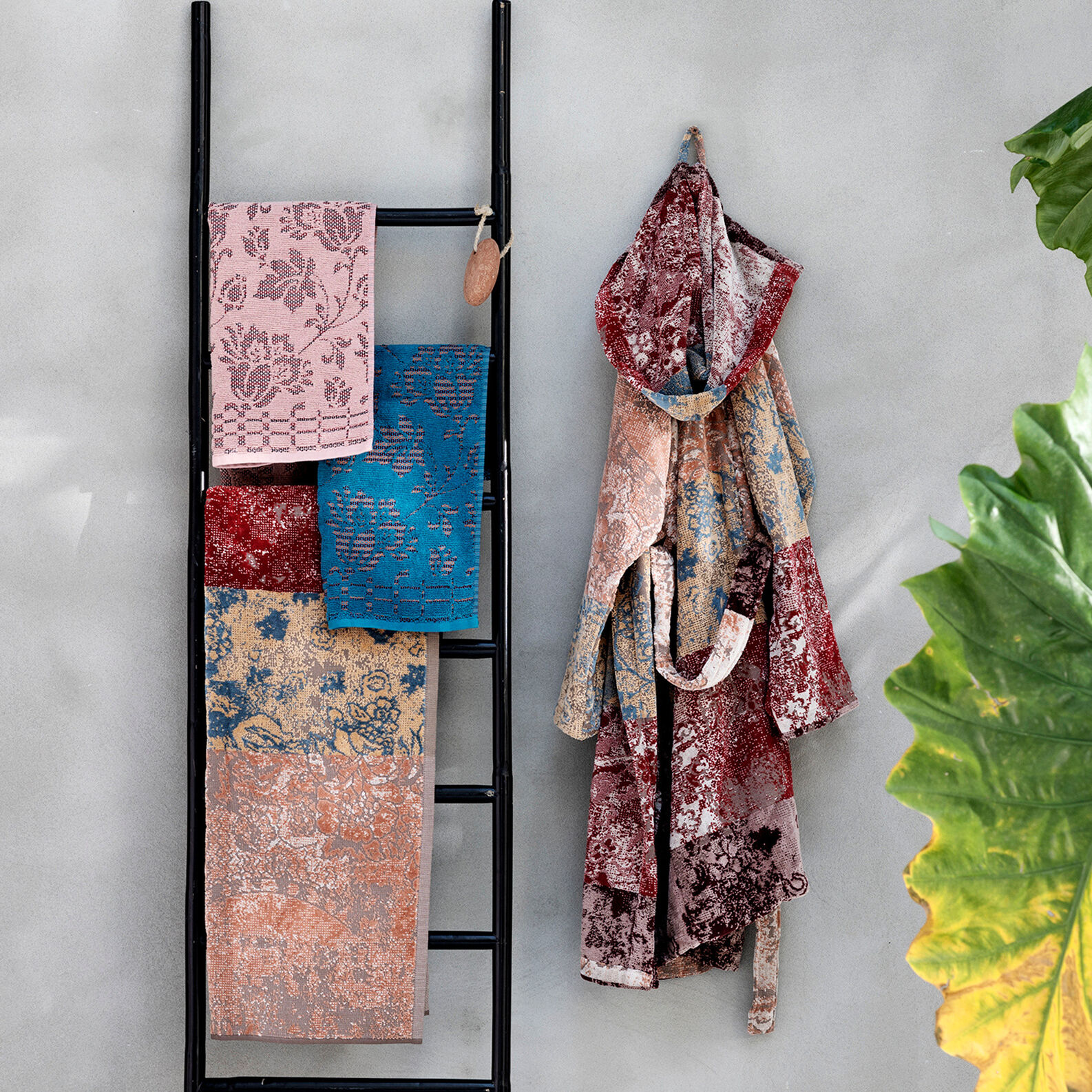 Accappatoio cotone tinto filo disegno patchwork
