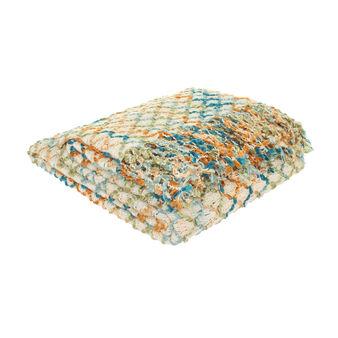 Throw with crochet fringe
