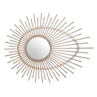 Round mirror with iron sunburst frame