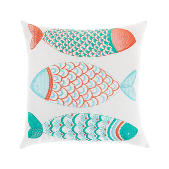 Cushion with embroidered fish