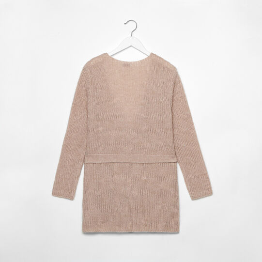 Wool blend cardigan with mélange effect