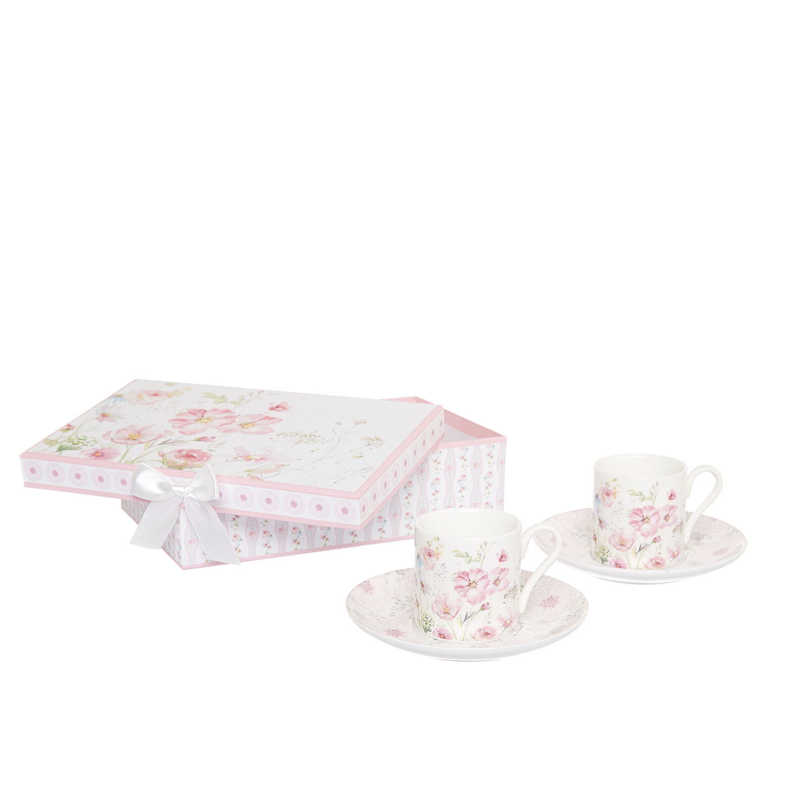 Gift set of 2 porcelain coffee cups with roses