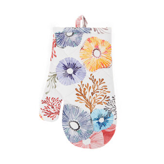 Oven mitt in cotton twill with flowers print