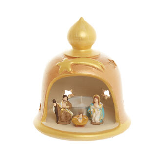 Terracotta nativity scene with tealight Made in Italy